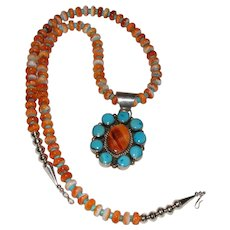 Native American Spiny Oyster and Turquoise Bead Necklace and Sterling Pendant By CsC