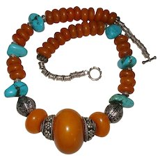 Moroccan Copal Amber Berber Turquoise Bead Statement Necklace