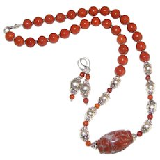 Vintage Chinese Hand Carved Red Jasper Necklace and Earring Set