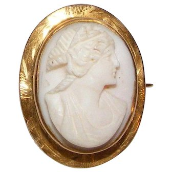 Lovely Vintage 10K Shell Cameo Pin
