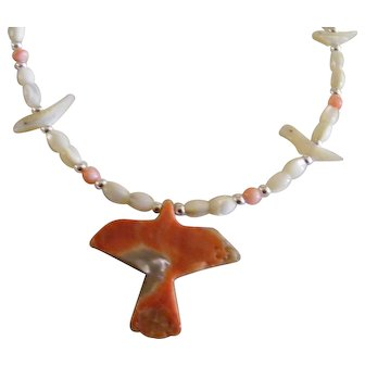 Beautiful Southwestern Thunderbird Fetish Mother of Pearl Necklace