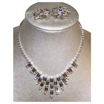 Vintage Clear Sparkly Weiss Necklace and Earring Set