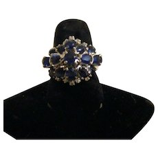 Classic Vintage Sapphire and Diamond Cluster Cocktail Ring in 18k White Gold