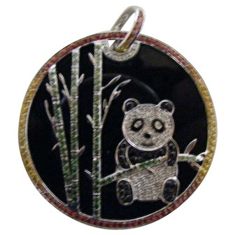 Vintage Asian Diamond Gemstone Panda Bear Pendant