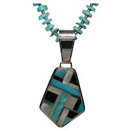 Native American Turquoise Necklace with Inlaid Pendant by Navajo Raymond Delgarito