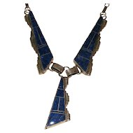 Lapis Inlay Sterling Silver Necklace Southwestern