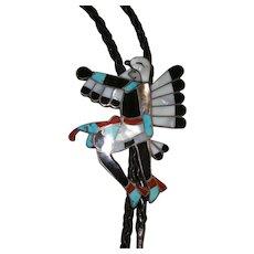 Zuni Eagle Dancer Inlaid Sterling Silver Bolo Tie