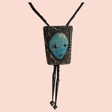 Vintage Navajo Large Turquoise Sterling Silver Bolo Tie Signed V & N Edsitty