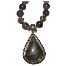 Labradorite Bead and Pendant Necklace