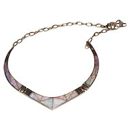 Beautiful Opal Inlay Necklace in Sterling Silver