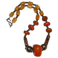 Copal Resin Amber And Millefiori Trade Bead Necklace African