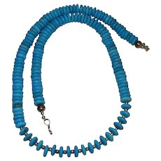 Lovely Southwestern Turquoise Disc Bead Necklace