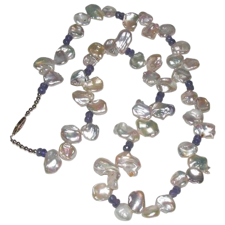 d531d117784c1 Beautiful White Keshi Pearl Necklace with Natural Tanzanite and Sterling  Silver