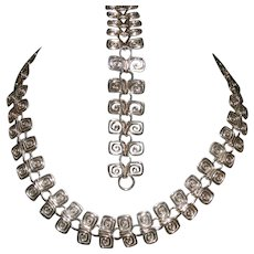 Sterling Silver Swirl Necklace and Bracelet Set Mexico CII