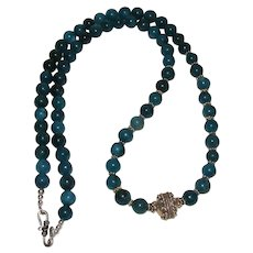 Lovely Blue Gemstone and Sterling Silver Bali Bead Necklace