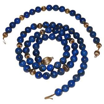 Vintage Natural Lapis Gold Filled Necklace and Bracelet Set
