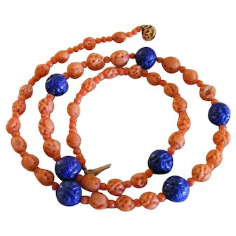 Amazing Hand Carved Natural Untreated  Salmon and Lapis Lazuli Shou Bead Necklace