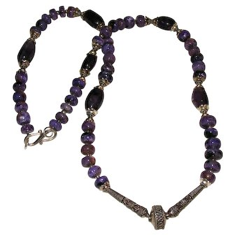 Nice Charoite Amethyst and Bali Silver Necklace