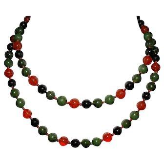 Vintage Jade Jadeite and Carnelian Bead Necklace Hand Knotted