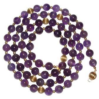 Vintage Amethyst Gold Filled Bead Necklace