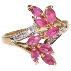 Vintage Ruby and Diamond Ring 10K Yellow Gold