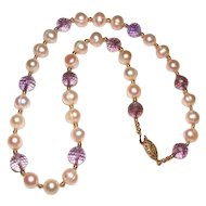 Beautiful Cultured Pearl and Ametrine Necklace Gold Filled