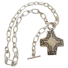 Sterling-Silver Link Cross Toggle Necklace