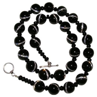 Black Onyx Bead Necklace with Crystal Inlay Sterling Silver
