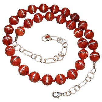 Natural Sponge Coral with Inlaid Crystal Sterling Silver Bead Necklace One of a Kind