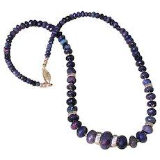 Ethiopian Welo Black Opal Bead Necklace 14K Yellow Gold 110 Carats