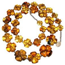 Mexican Amber Flower Bead Necklace Sterling Silver