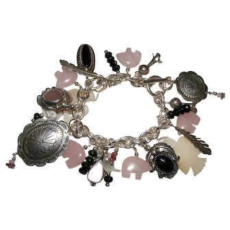 Nice Southwestern Native American Charm Bracelet Mother of Pearl and Jet