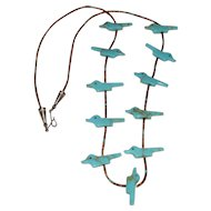 Old Pawn Zuni Carved Turquoise Bird Fetish Heishi Necklace