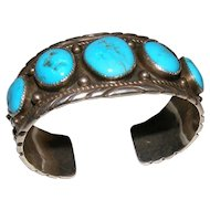 Vintage Native American Navajo Large 5 Kingman Turquoise Cuff by MB
