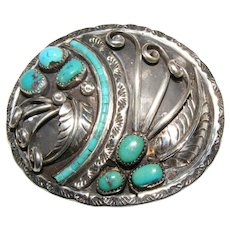 Vintage Native American Turquoise Belt Buckle Old Pawn