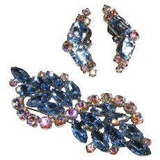 Vintage Quality Large Rhinestone Brooch and Earring Set