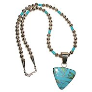 Turquoise Inlay Pendant on Native American Bench Bead Chain