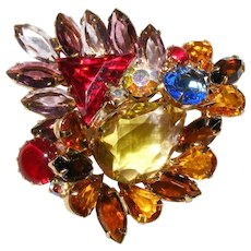 Vintage Dazzling Multi Colored Rhinestone Brooch