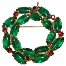 Vintage Dazzling Green Rhinestone Wreath Brooch
