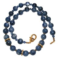 Lovely Blue Kyanite Bead Necklace with Yellow Gold Vermeil Pave Diamond Accents