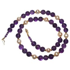 Beautiful Natural Amethyst and Pearl Bead Necklace With 14K Gold Clasp