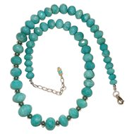 Bright Aqua Amazonite Sterling Silver Bead Necklace