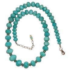 Bright Aqua Amazonite Sterling Silver Bead Necklace
