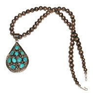 Vintage Native American Turquoise Pendant on Bench Bead Sterling Silver Navajo Pearls Necklace