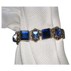 Vintage Blue Aztec Face Mexico Sterling Silver Link Bracelet