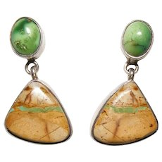 Native American Navajo Johnny Johnson Boulder Turquoise Sterling Silver Earrings