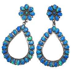 Huge Opal Sterling Silver Earrings