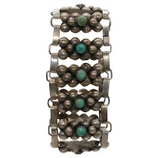 Vintage Mexico Sterling Silver and Turquoise Link Bracelet