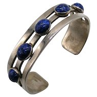 Vintage Sterling and Lapis Lazuli Taxco Mexico Cuff Bracelet