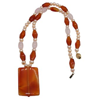 Vintage Carnelian Necklace Moonstone Pearls and 14K Yellow Gold Clasp